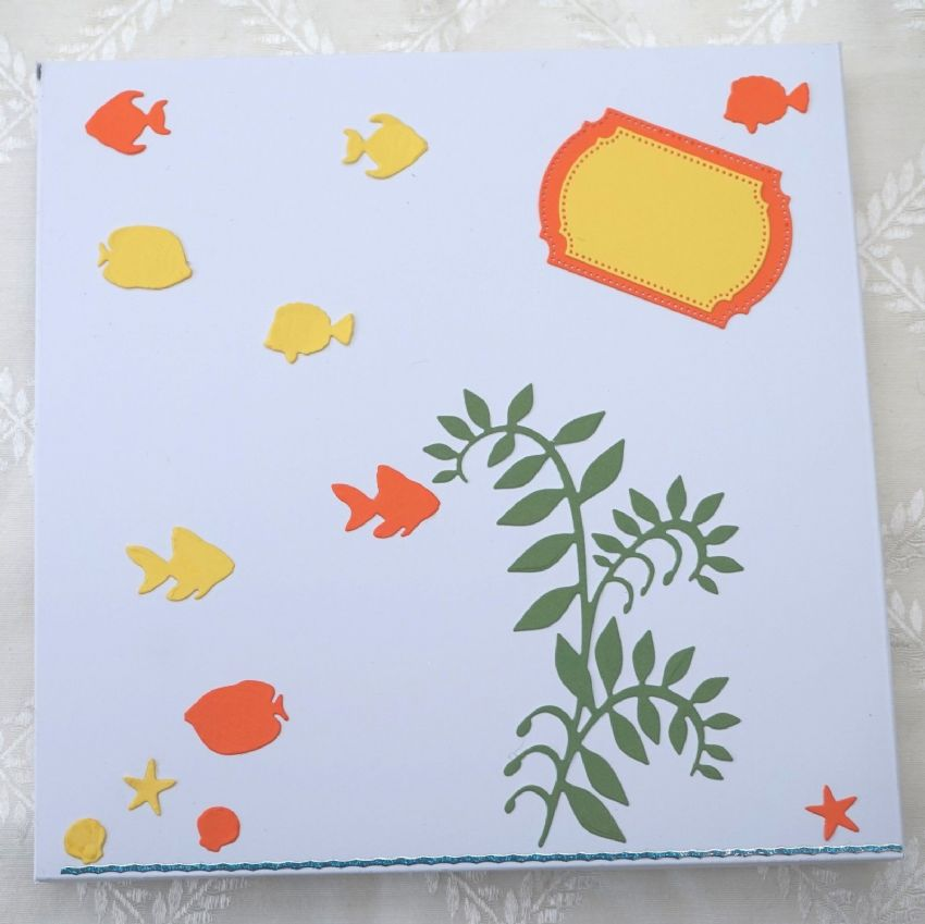 CHILDRENS BIRTHDAY CARD HAND MADE KEEPSAKE CARD WITH CHOCOLATE FISH IN BOWL